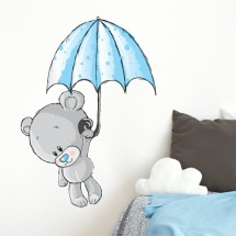 Bear With Umbrella Boys