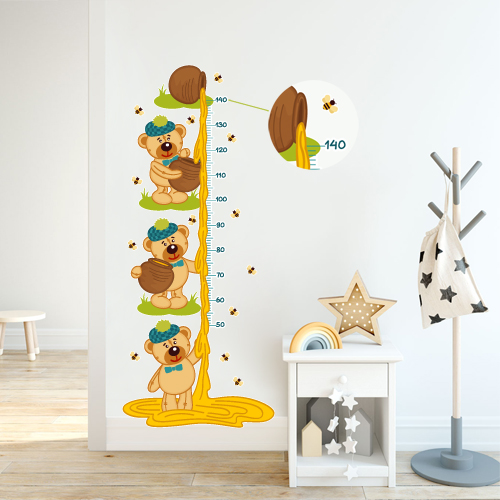 Height measure teddy bears and bees